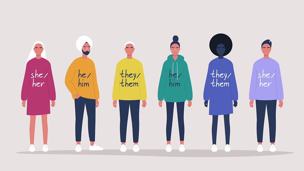 A drawn graphic of five people all wearing t-shirts with their pronouns on them.