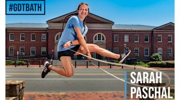 Sarah Pascal jumping with a jump rope.