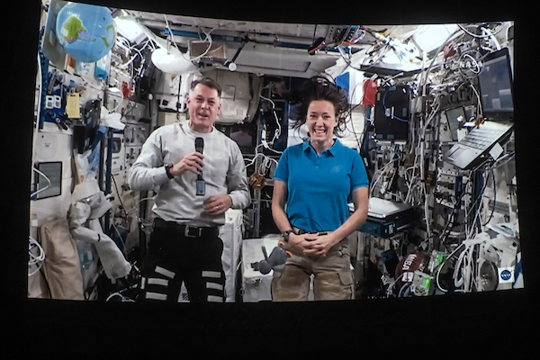 Megan McArthur and Shane Kimbrough in the International Space Station.
