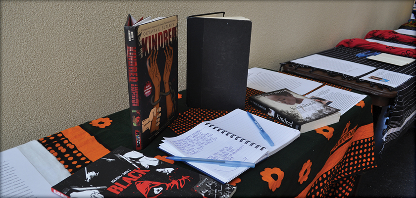Books on a display table at a cconference.