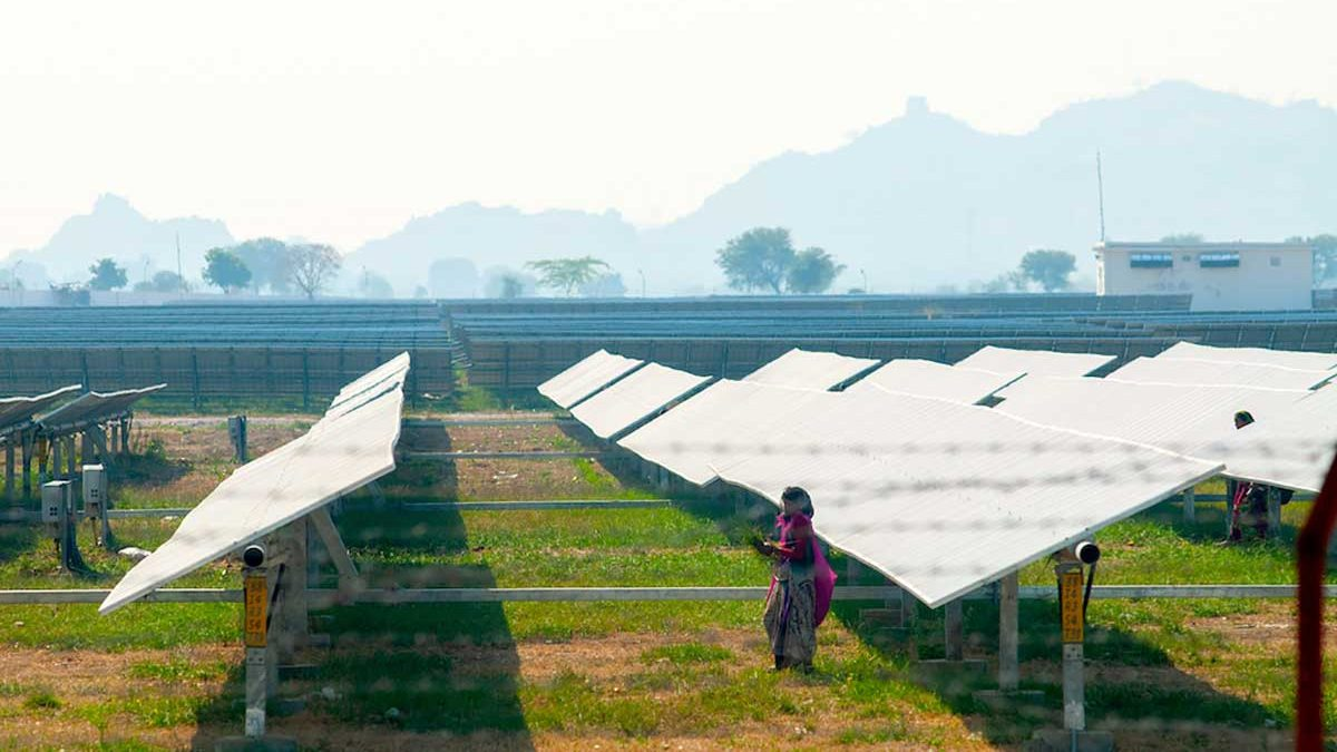 Solar panels in a field in India.