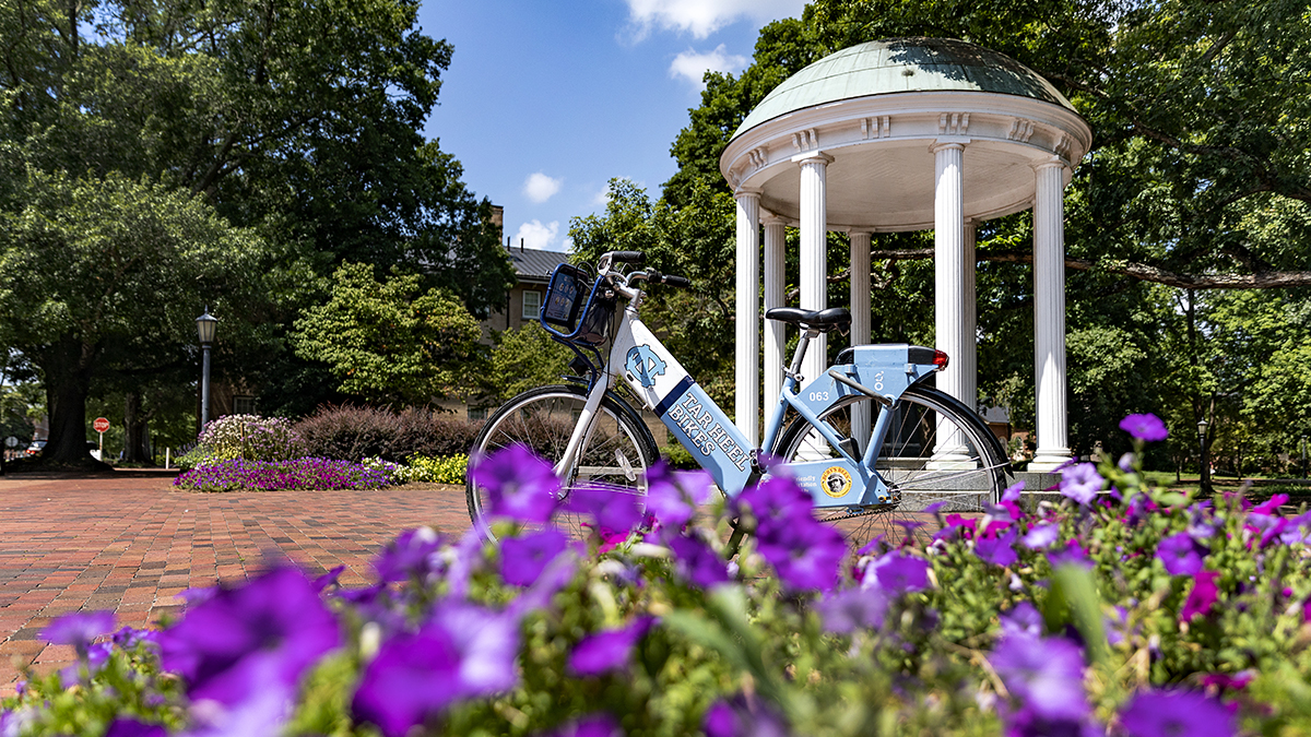 A bike parked in front of the Old Well.