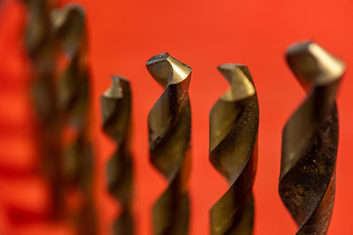 A close up of drill bits