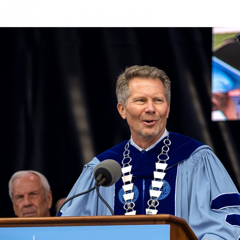 The chancellor speaking at Commencement.